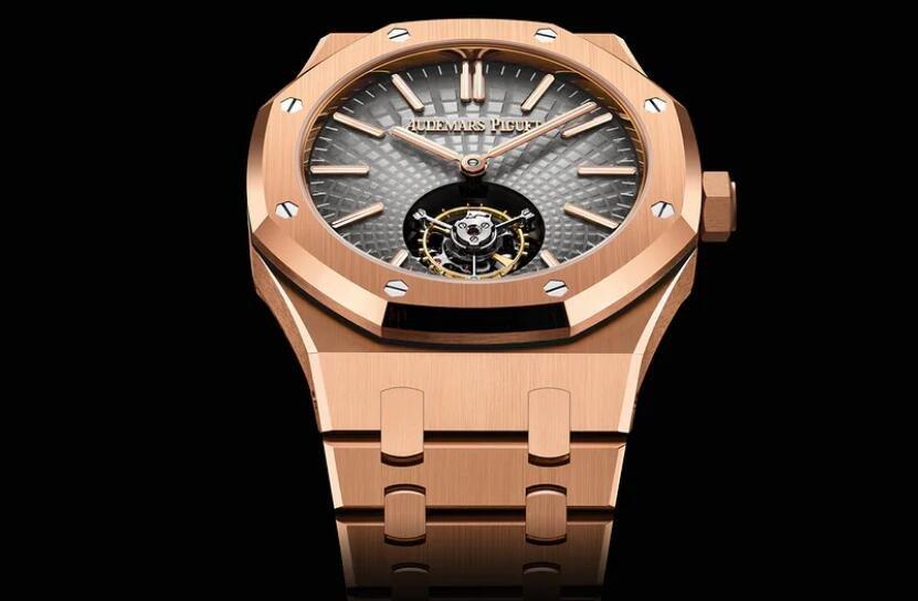 Replika Uhren Audemars Piguet Royal Oak Automatisches Fliegen Tourbillon 18 Karat Rotgold 2