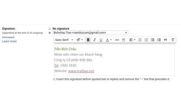 Tạo chữ ký Email trên Gmail bước 2 Điền nội dung vào khung soạn thảo chữ ký email
